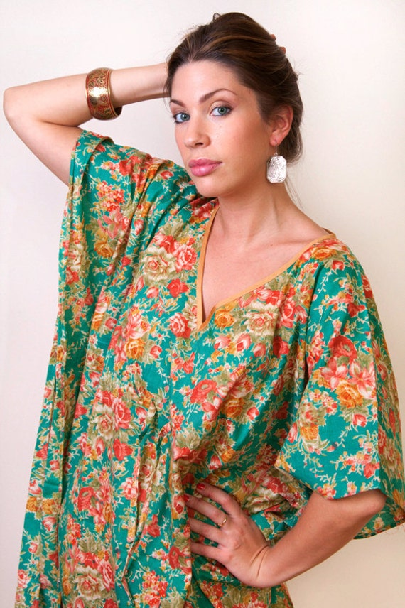 Limited edition. LAGUNA VERDE kaftan dress in blue green floral print. Lounge wear, beach cover up or summer dress. Great gift for her.