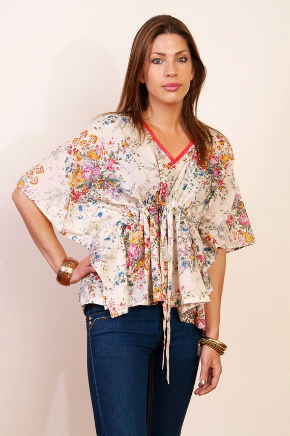 PETIT FLEUR Floaty Cotton kaftan croped poncho top in floral print and empire waist. Beach cover up