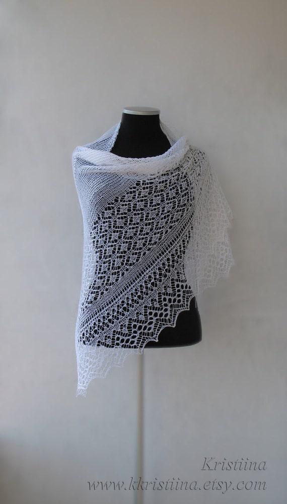 White wedding hand knitted triangular lace shawl