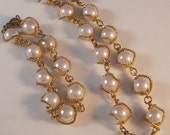 Vintage Faux Pearl Necklace with Matching Bracelet