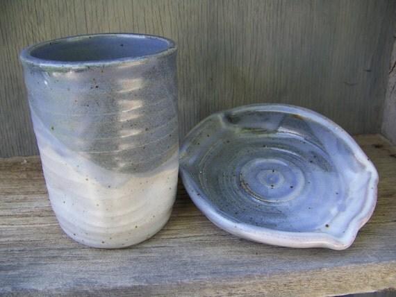 Handmade Pottery Soap dish, Tumbler Set, 2pc, Blue