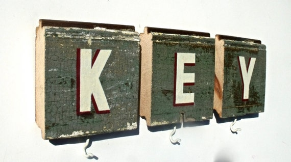 Vintage Inspired Hand Painted Shabby Chic UpCycled Wood Sign And Key Organizer