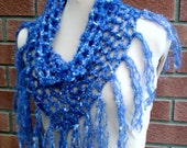 Whimsical mohair mix scarf/cowl V shaping with fringes light lacy festival bohemian infinity