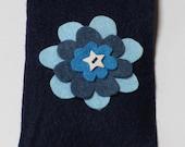 Flower Needlecase - lovely and useful felt needlecase in different shades of blue