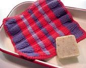 RESERVED - 'Brazen Stripes' Bauhaus Washcloth - Hand Knit in 100% Premium COTTON Yarn - (EPSTeam)