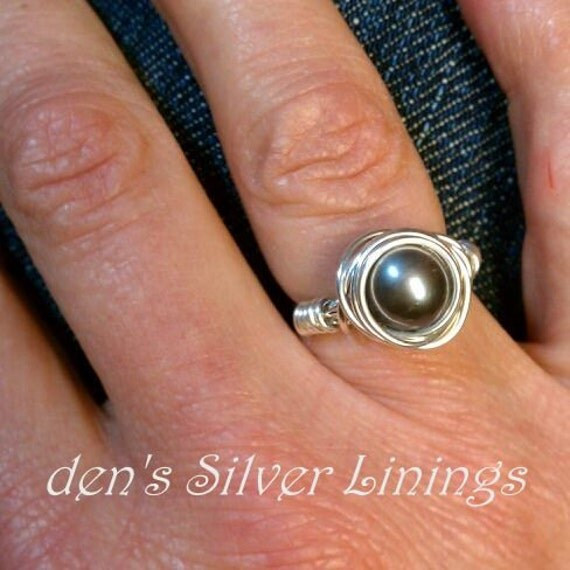 Wire Wrapped Ring, Sterling Silver and Swarovski Crystal Pearl