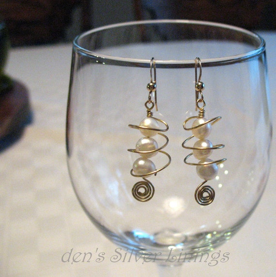 Pearl and Gold Earrings, Cream Freshwater Pearl and 14K Gold Filled Orbit Earrings