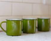Olive Green Enamel Mugs (3)