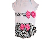 Baby Girl Clothes Onesie Outfit including Diaper Cover - 2 Lovely Handmade Bows
