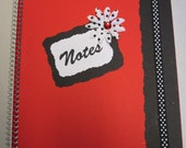 Red and Black Notebook with rhinestone flower