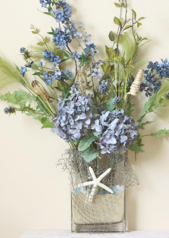 Deep blue Hydrangea Starfish Floral Arrangement