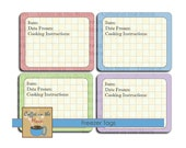 Freezer Tags -  Food Labels - Cooking Party Freezer Reheat Instructions Baby Shower New Mom