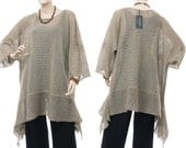 Large knitted sweater, tunic, top 100% linen  - plus size women oversized lagenlook