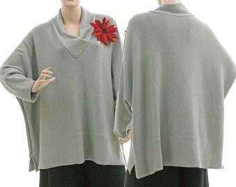 Oversized knitted fall winter sweater in grey, merino wool batwing sweater in grey, lagenlook sweater plus size women L-XL, US size 12-20