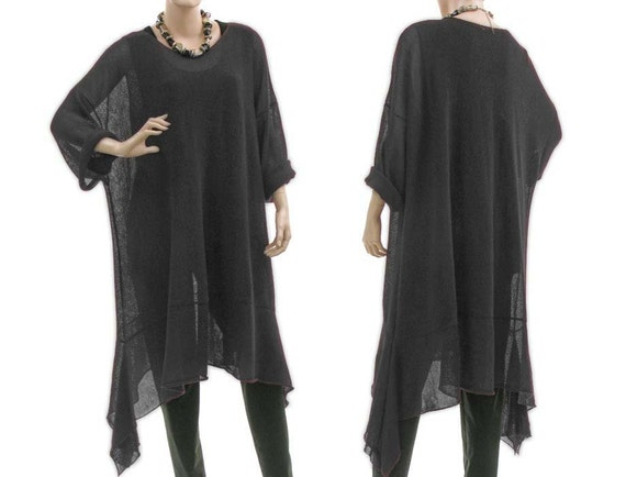 Large knitted sweater, tunic, overlay top - lagenlook for plus size women - oversized in black