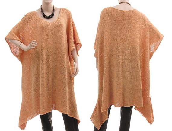 Extra large knitted ribbon sweater, tunic, top - lagenlook plus sizes women - in peach