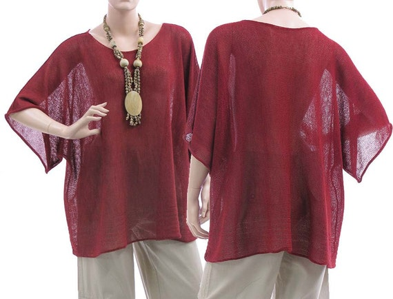 Knitted sweater, overlay top in red - lagenlook women plus sizes - large, oversized
