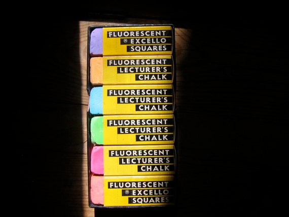 Chalk Colored Vintage Fluorescent Lecturer's Chalk Excello Squares Set of 6 Colors