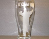 Etched Zombie Drinking Glass - Etched Zombie Pilsner Pub Weizen Beer Glass - Zombie Gift