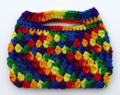 Rainbow colored crocheted purse - READY TO SHIP