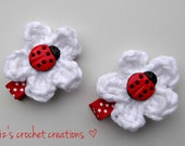 Crochet White Flower with Ladybug hair clips