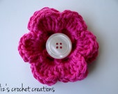 Bright Pink Crocheted Flower Hair Clip