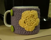 Crocheted Light Purple Coffee Cup Cozy with Yellow Flower - READY TO SHIP