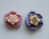 One Pink and One Purple Flower Crocheted Hair Clip - READY TO SHIP