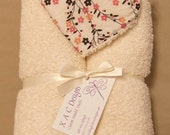 Peach - Pink Vines on Ivory - Hooded Towels for Children & Babies