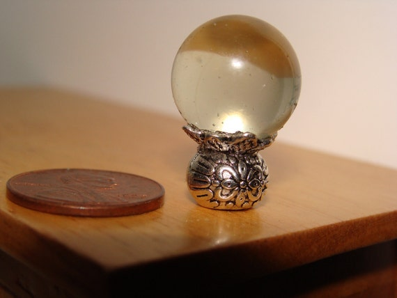 Crystal gazing ball dollhouse miniature 1:12 scale