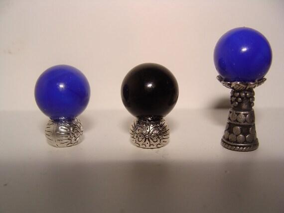 Cobalt blue tall crystal gazing ball dollhouse miniature 1:12 scale