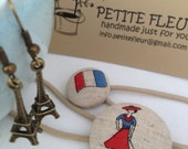 Stylish and Chic Parisienne Fashion Babes - Eiffel Tower Earrings and Two Ponytail Holders