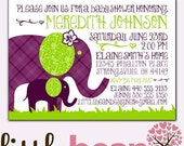Elephant Baby Shower Invite - Printable Option - Girl or Boy Invite CUSTOM 4x6 or 5x7