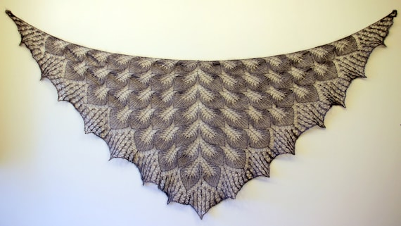 SALE   ///   Hand Knitted Grey Lace Shawl