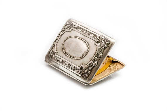 Art Deco Cigarette case, miniature ornate vintage silver-plated cigarette case