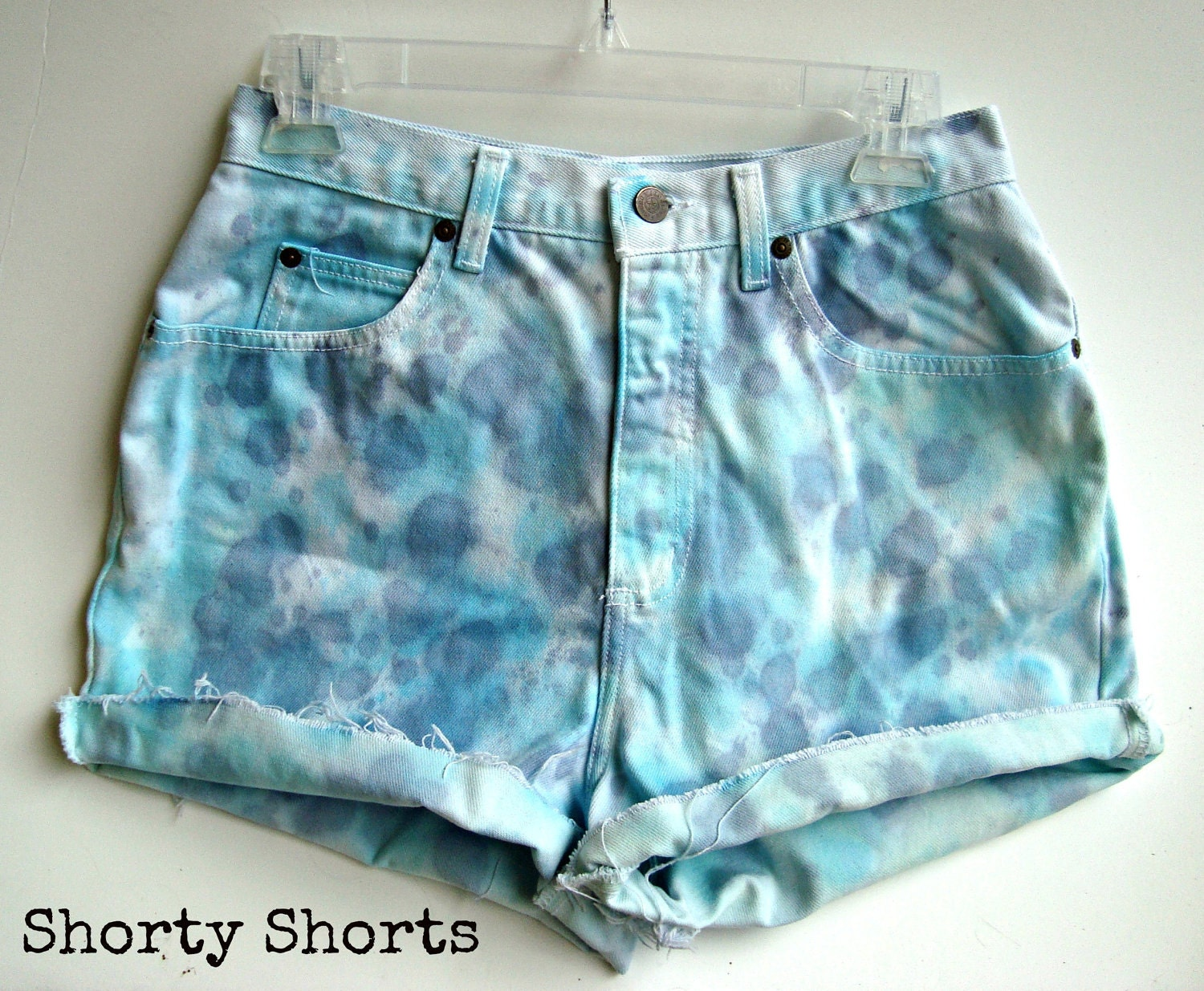 high waisted shorts tie dye blue and purple ombre by