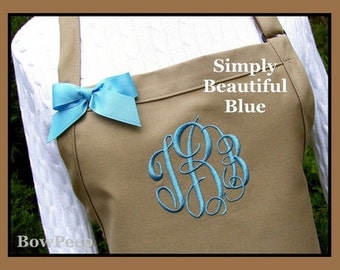 Khaki and Blue Gourmet Monogrammed Apron - Personalized Chefs Gift Idea Kitchen Bakers Adjustable Tan Neutral Beige Red Womens Cooking