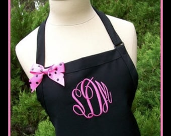 Black Gourmet Monogrammed Apron - Personalized Chefs Gift Idea Hot Pink White Ribbon Bakers Womens Wedding Bridal bridemaids Polka Dots