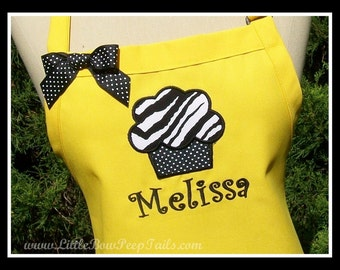 Custom Zebra Cupcake and Name Gourmet Apron - Black White stripes Tiger Fabric Embroidered Personalized Chefs Bakers Womens cake funky fun