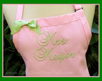 "Personalized Pink ""Mrs."" Apron - Her New Married Name - Pastel Wedding Colors, Monogrammed Bridal Shower Gift Light Soft Green Celadon Grass"