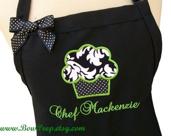 Cupcake and Name Gourmet Apron - Black White Damask Fabric Applique Embroidered Personalized Chefs Bakers Womens cake Lime Elegant