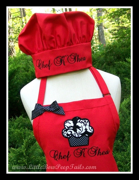 GIFT SET - Custom Cupcake Apron AND Chefs Hat - Monogrammed Personalized Gourmet Elegant Women's Professional Culinary Gifts Idea