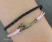 antique bronze giraffe bracelet bangle cuff bracelet  jewelry  bracelet rope bracelet black leather bracelet