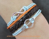 silver arrow racelet,silver karma bracelet brown leather bracelet rope leather women or men bracelet