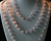 Necklace - baroque style Ice pink hand wired crystals with brass bows