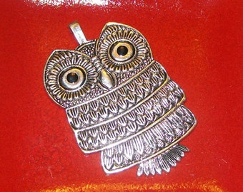 Large Silver Owl Metal Pendant