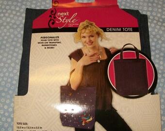 Denim Canvas Bag, Dark Denim Bag, Blank Denim Bag