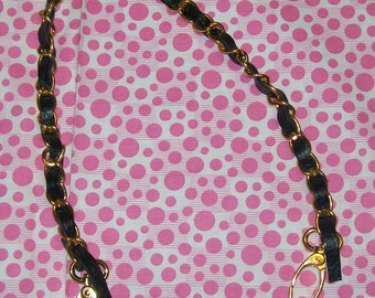 Faux Leather and Gold Chain Purse Handle, Faux Leather Handle