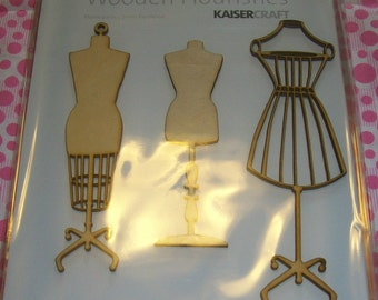 Maniquin Wood Cutouts for Scrapbooking, Wooden Mannequins, Wooden Dress Forms