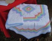 Crocheted Baby Afghan Rainbow Colors